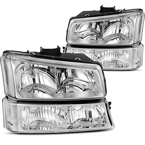 AUTOSAVER88 Headlight Assembly kit for 2003 2004 2005 2006 Chevy Avalanche Silverado 1500 2500 3500/2007 Chevrolet Silverado Classic Pickup Headlamp,Chrome Housing with Turn Signal Bumper Lamp