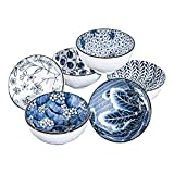 Japanese Style Ceramic Cereal Bowls,24 Ounces Salad,Soup,Rice Bowl Set,Blue and White (6 inch)