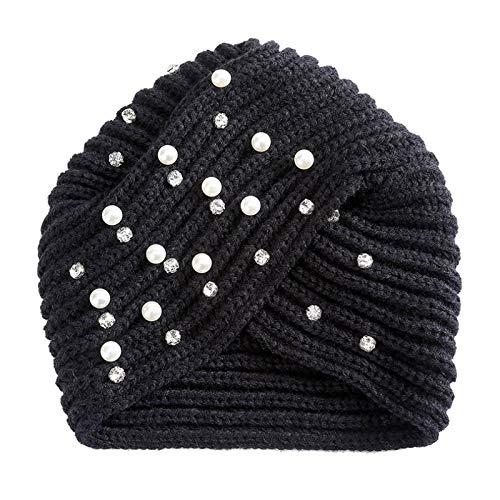 Turbantes Headband Diademas para Mujer Turbantes Diademas De Diamantes De Imitación De Perlas Tejidas A Ganchillo, Pañue