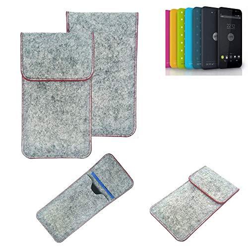 K-S-Trade® Filz Schutz Hülle Für Shift Shift4.2 Schutzhülle Filztasche Pouch Tasche Case Sleeve Handyhülle Filzhülle Hellgrau Roter Rand