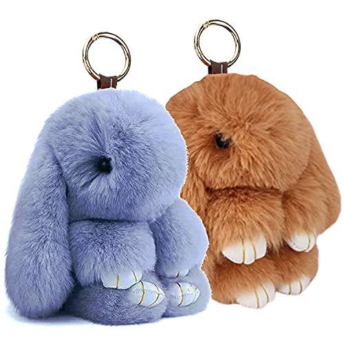 BRACO - PACK 2 Llaveros Conejos Peluche, Colgante de Bolso, Conejo de peluche, para coche, llavero, bonito bolso, colgante, juguete, decoración de muñeca