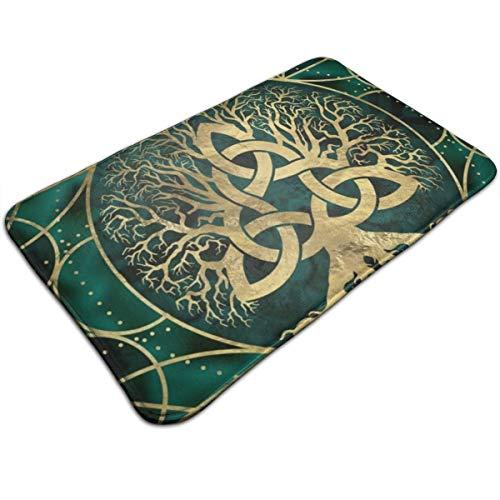 Decopik Door Mat Viking Celtic Tree Turquoise Bathroom Indoor Doormat Non Slip Rug 23.6x15.7