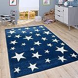 Alfombra Infantil De Pelo Corto para Habitación Infantil Motivo Estrellas, En Azul,...