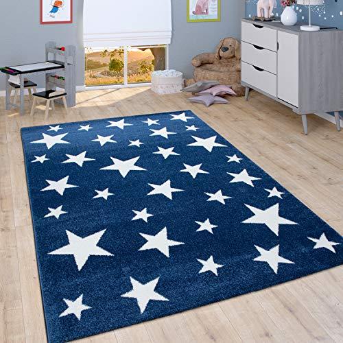 Alfombra Infantil De Pelo Corto para Habitación Infantil Motivo Estrellas, En Azul, tamaño:160x230 cm