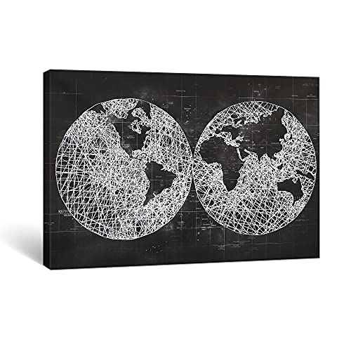 SUMGAR Cuadros en Lienzo Negro y Blanco Mapa Mundi con Diseño de Purpurina Modernos de Decoración Hogar Salon Dormitorios - 60 x 90 cm