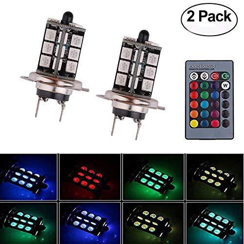 Haichen H7 5050 27 LED multicolores RVB Feux de brouillard Super lumineux Conduite DRL Ampoules avec télécommande sans fil 12 V