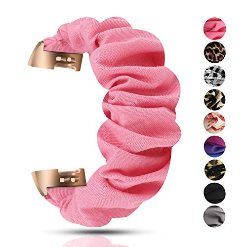 Scrunchie Bands Compatible with Fitbit Charge 3/Charge 3 SE Bands,Soft and Elastic,Women Girls Cloth Pattern Printed Wristbands Replacement for Fitbit HR (Pink)