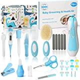 30 in 1 Baby Grooming Kit, Divava Baby Healthcare Set and Safety Electric Nail Trimmer Set Newborn Care Kits Baby Hair Brush and Comb Set for Nursing Newborns Baby Toddler-Blue