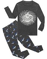 Glow in The Dark Shark Big Boys Long Sleeve Pajamas Sets 100% Cotton Sleepwear Kids Pjs Size 12 Grey