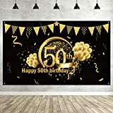 50th Birthday Party Decoration, Extra Large Fabric Sign Poster for 50th Anniversary Photo Booth Backdrop Background Banner, 50th Birthday Party Supplies (Oro Nero)