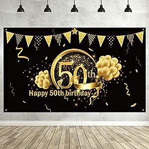 Blulu Decoración de Fiesta de 50 Cumpleaños, Póster de Señal de Tela Extra Grande para 50 Aniversario Fondo de Foto Pancarta de Fondo, Materiales de Fiesta de 50 Cumpleaños (Negro Dorado)