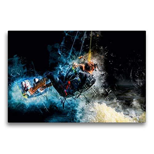 CALVENDO Premium Textil-Leinwand 75 x 50 cm Quer-Format Kitesurfen, Leinwanddruck von Peter Roder