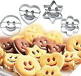 Conjunto de 4moldes para galletas o pasteles, acero inoxidable, diseño en forma de caritas sonrientes, también sirven para cortar frutas o verduras o decorar tartas
