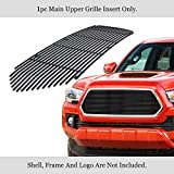 APS Compatible with 2016-2017 Tacoma Stainless Steel Black 8x6 Horizontal Billet Grille Insert N19-J85368T
