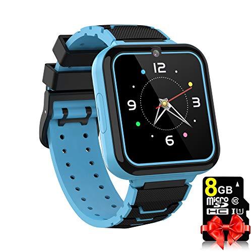 Kinder Smart Watch für Jungen Mädchen - HD Touchscreen Sport Smartwatch Telefon mit Call Camera Spiele Rekorder Alarm Musik Player für Kinder Teen Studenten (Blau)