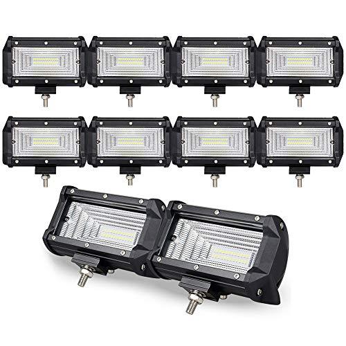 10 pcs 5 Inch 72W Projecteur LED Lampe de travail Barre 7d pour ARRET - Air Route van SUV Camion Voiture ATV 4 WD 4 x 4 RV UTE tracteur véhicule Bateau Conduite lampe de brouillard