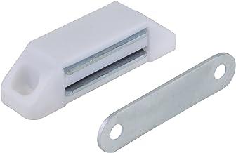 1 magneetsnapper meubelsnapper kastsnapper, houdkracht 5-6 kg, kunststof wit met metalen tegenplaat 58 x 16 mm