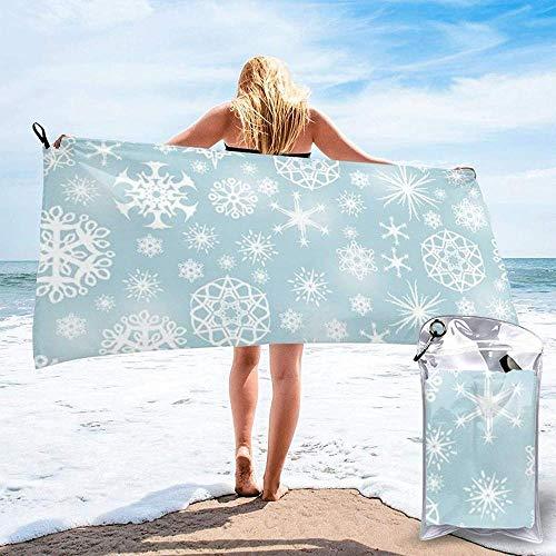 Toalla De Baño De Copo De Nieve De Invierno Súper Absorbente Toalla De Microfibra Ligera Compacta De Secado Rápido Adecuado para Nadar Camping Fitness Yoga-27.5'X55