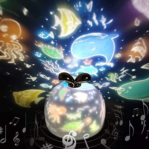 Sternenhimmel Projektor Lampe SYOSIN Kinder LED Musik Nachtlicht Baby Sterne Lampe mit 6 Projektionsfilmen 360 ° Drehbar für Geburtstage, Halloween, Weihnachtsgeschenke, Kinderzimmer Dekoration (Grau)
