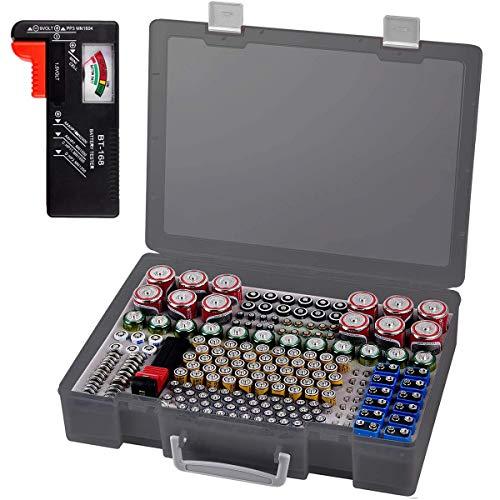 Batterie Aufbewahrungsbox - Batterien Aufbewahrung Organizer mit Batterietester Akkutester BT-618. hält 225 Batterien für 9V Block batterien Akku AA, AAA, C, D, 1.5V - Transparent