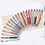 Qpower 20pcs Retractable Ballpoint Pen, Bling Stylus Pen, Crystal Diamond Screen Touch Pen, Capacitive Pens for Phones, iPhone, iPad, Kindle, Note, Tab, Office School Stationery supplies(20 color
