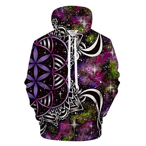 HNKPWY Flower Of Life 3D Print Hoodies Mannen Vrouwen Galaxy Hooded Sweatshirt Streetwear Tracksuit Pullover Coat
