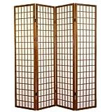 PEGANE Biombo japonés Shoji de Madera castaño Oscuro de 4 Paneles