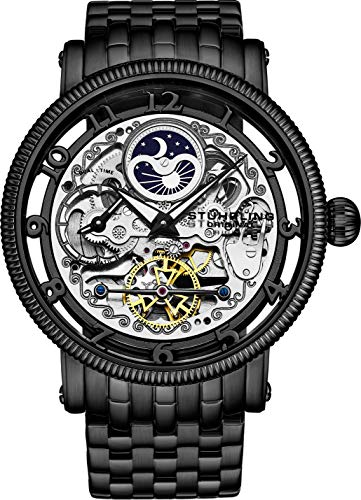 Stührling Original Black Skeleton Watch, Silver Analog Watch Dial, Dual Time, AM/PM Sun Moon, Black Stainless Steel Bracelet, 3923 Watch for Men Collection
