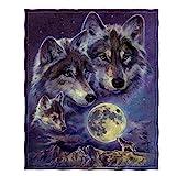 Dawhud Direct Fleece Throw Blanket (Wolf Moon Call)