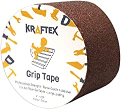 "Grip Tape [4"" x 30ft Brown] Anti Slip Tape for Stair Runners for Wooden Steps & Stairs. Non Slip Friction Tape for Stair Nosing Indoor Stairs & Outdoor Stair Treads Non-Slip Tape and Skateboard Tape."