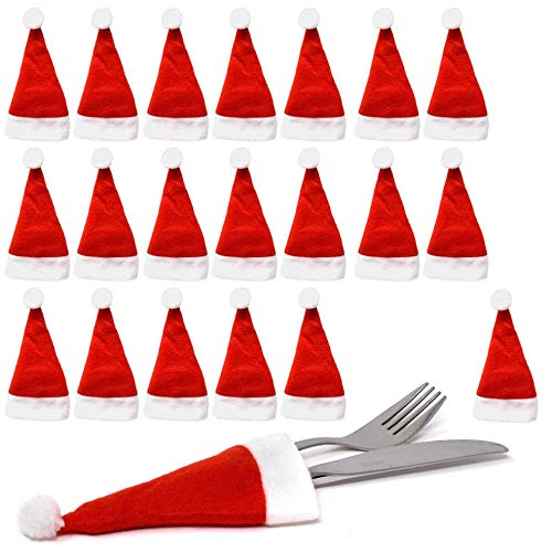 THE TWIDDLERS Confezione da 20 Porta Posate a Forma di minicappello di Babbo Natale - Perfetti per portaposate Feste e cene di Natalizie - Decorazioni tavola Ospiti