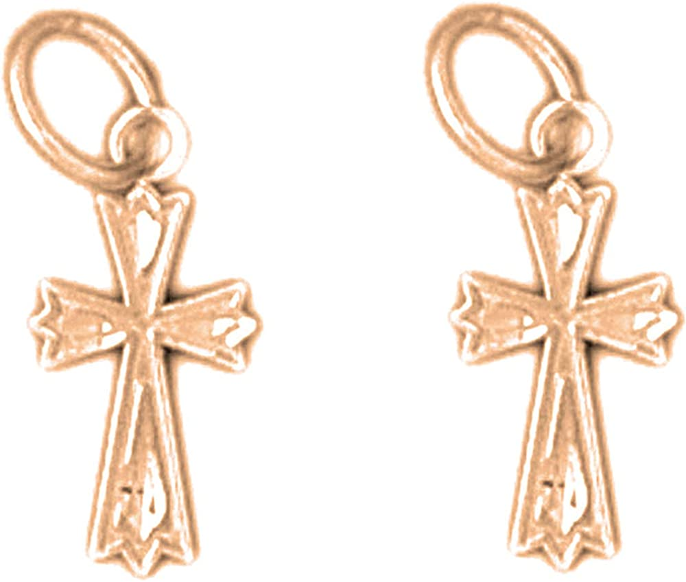 Jewels Obsession Budded Cross Super special Sale price price Earrings Gold 14K Cr Rose