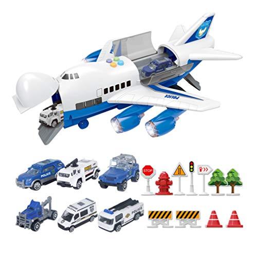 STOBOK Auto Spielzeug Set mit Flugzeug Transport Frachtfahrzeug Polizeiwagen Set Und Trägheitsrad Flugzeug Spielzeug Sound Licht Modell für Kinder Kinder