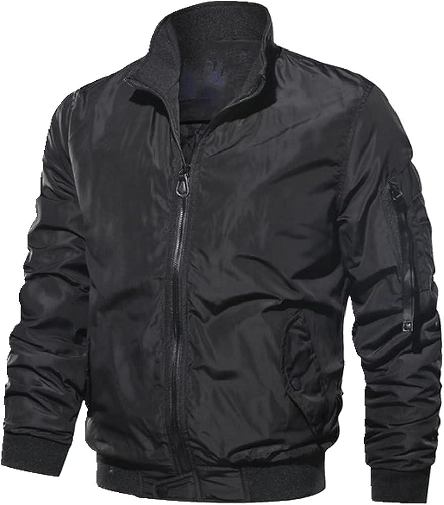 Men Zipper Bomber Green Jacket Mens Windbreaker Outdoor