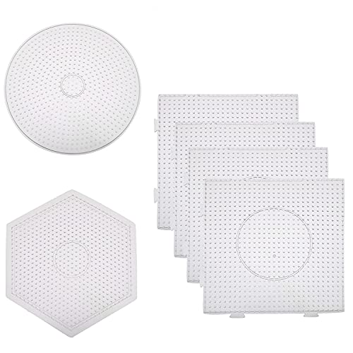 Batino 6Pcs 5mm Fuse Beads Pegboards Craft Tray Set, 4 Pcs Large Square Clear Plastic Fuse Beads Pegboards, 1 Pcs Round and 1 Pcs Hexagon Fuse Beads Pegboard for Kids DIY Art Crafts