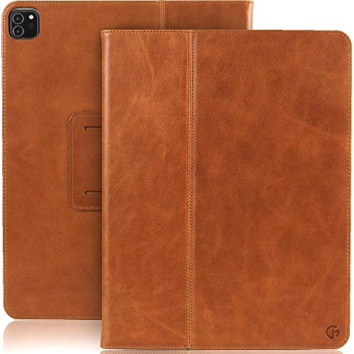 Casemade iPad Pro 12.9 (4th Generation 2020 Model) Real Leather Case - Premium Luxury Italian Slim Cover/Smart Folio with Dual Stand and Auto Sleep/Wake (Tan)