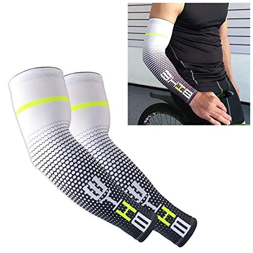 Producto de protección deportiva Lgmin 1 par de hombres frescos hombres ciclismo corriendo bicicleta UV protección solar cubierta protectora brazo manga bicicleta deporte brazo calentadores mangas m (