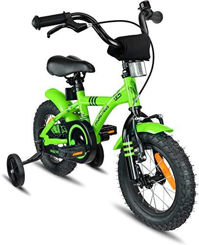 Prometheus vélo Enfant 12 Pouces pour garçons et Fille en Vert et Noir à partir de 3 Ans avec stabilisateurs et rétropédalage - BMX 12 Pouces modèle 2019