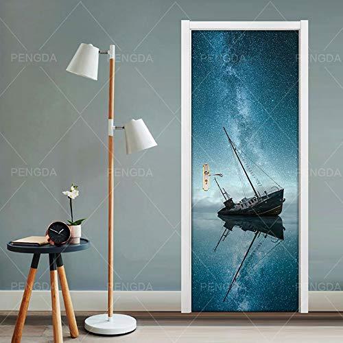 Vinyl deurbehang, blik op zee, zeilen, deur, fotobehang, deurposter, fotobehang, zelfklevend voor slaapkamer, woonkamer, binnendeur, kunstdecoratie 77x200cm