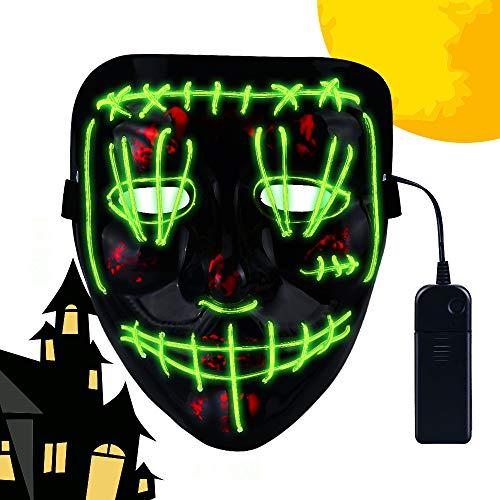 CENOVE Máscara LED Halloween, la Purga Mascara LED con 3 Modos de Iluminación, Mascara la Purga LED para Fiestas de Disfraces Cosplay Carnaval-Verde
