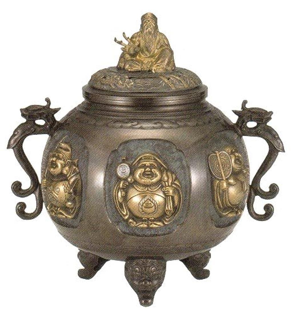 会員飢えチート香炉 特大 七福神(さしメッキ)高岡銅器 青銅製 高さ31×幅30×奥行24.5cm