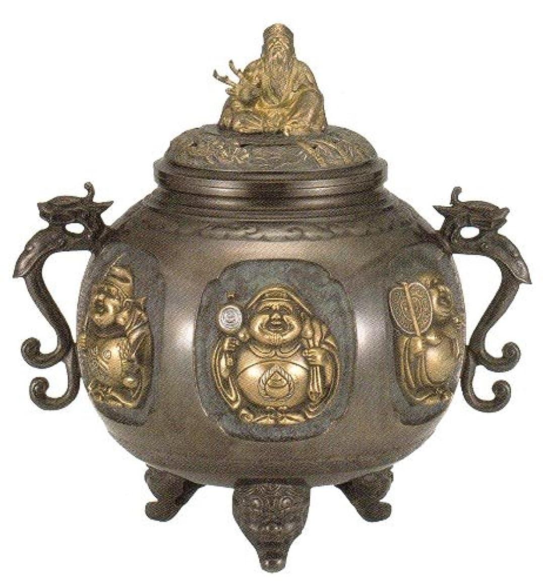 便利こんにちは説教香炉 特大 七福神(さしメッキ)高岡銅器 青銅製 高さ31×幅30×奥行24.5cm