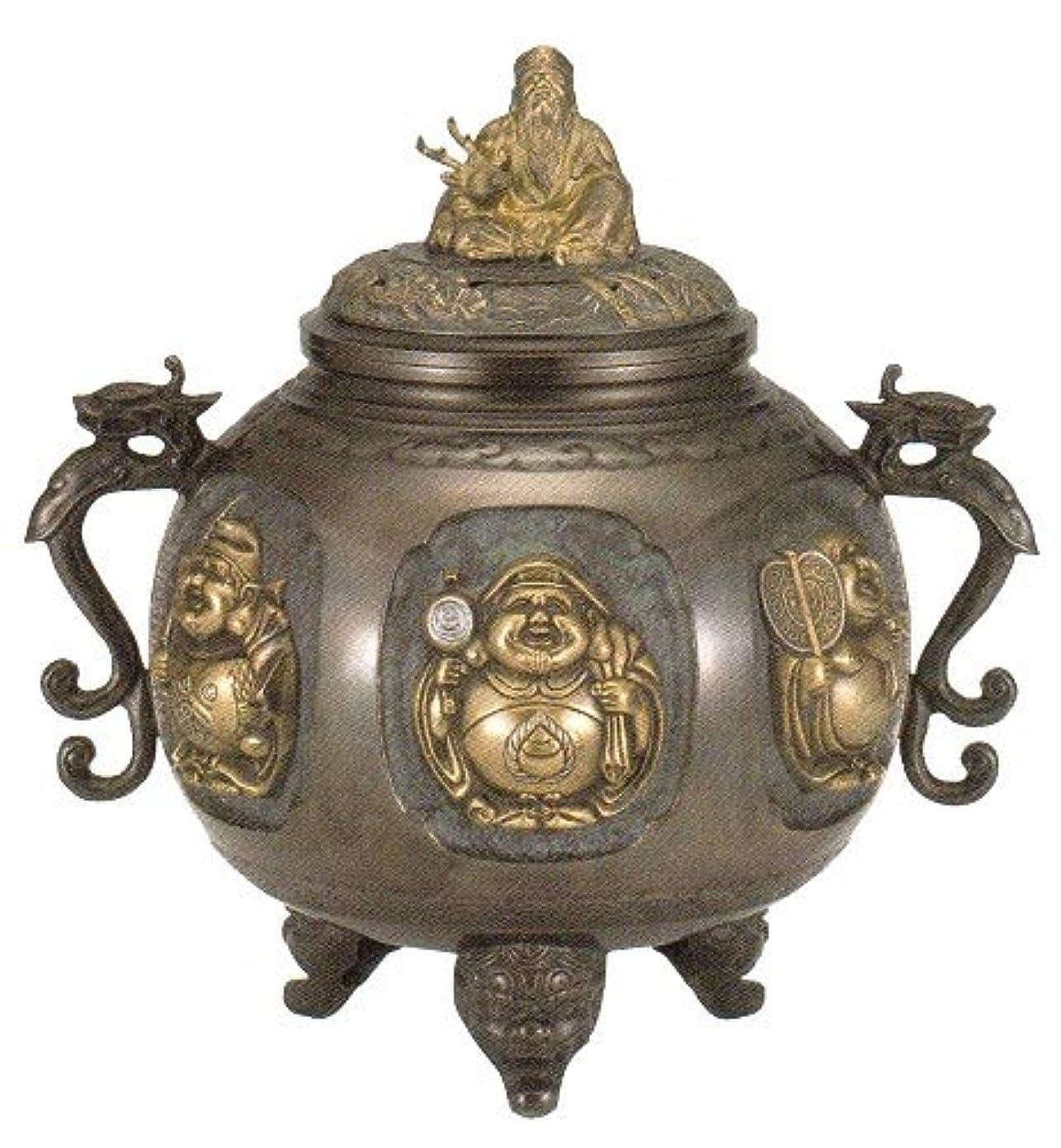 の配列ラップトップ中級香炉 特大 七福神(さしメッキ)高岡銅器 青銅製 高さ31×幅30×奥行24.5cm