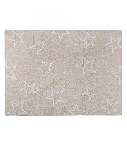 Happy Decor Kids hdk-216 Tapis lavable Stars, Bianco-beige, 120 x 160 cm
