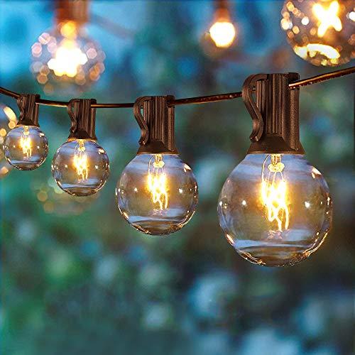 ERWEY Lichterkette Außen 7.6 Meter 25 Glühbirnen G40 LED Garten Lichterkette Wasserdicht Terrasse