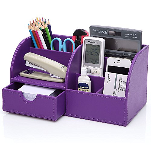 KINGFOM Multi-function Home Office Supplies Leather Desk Organizer 6 Compartment Storage Box Collection with Drawer (Purple)