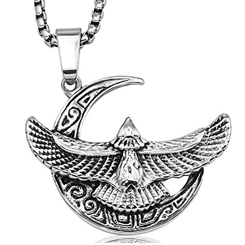 WDBAYXH Viking Unique Odin Raven Moon Charm Pendant Stainless Steel Necklace, Vintage Punk Amulet with 24' Chain Talisman,Nordic Pirate Pagan Scandinavian Jewelry Gifts