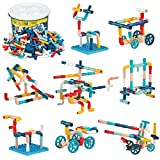 burgkidz 252 Piezas Tubo Construcción Bloques, Aprendizaje y Actividades Creativas Stem Ensamblar de Juguetes, Juegos de Construcción con Ruedas y Placas Base para niños, Macaron