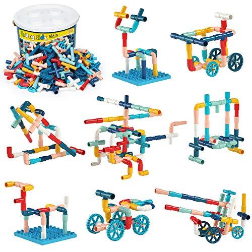 burgkidz 252 Stück Baubausteine Rohrrohrspielzeug, Sensorische Wasserrohrschlösser Konstruktionsspielzeug, Pädagogisches STEM Bauspielzeug mit Rädern und Grundplatte für Jungen Mädchen