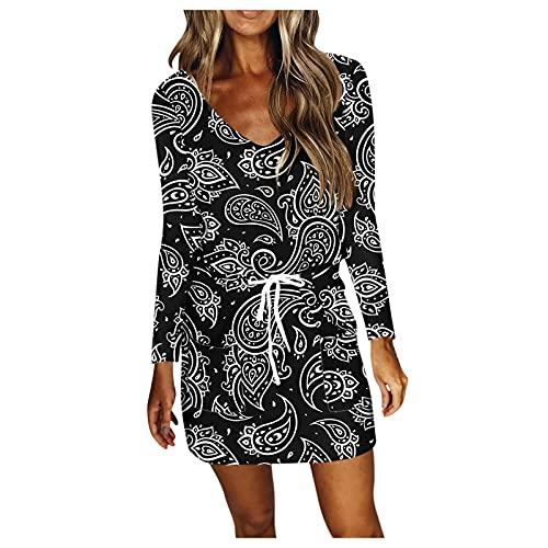 Briskorry Damen Kleid mit V-Ausschnitt Elegant Kurze Strand Freizeitkleider Sommerkleid Loose T-Shirt Kleid Minikleid Junge Mädchen Party Strandkleider Partykleid Freizeitkleid